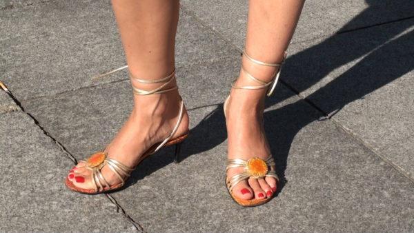 Pretty feet waiting for the bus