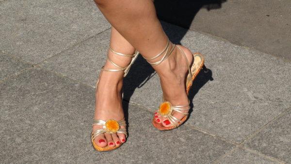 Shiny arched feet
